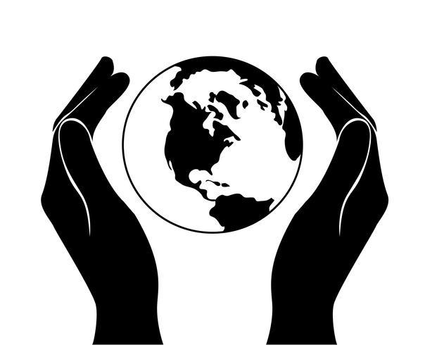 mãos salvando o mundo vetor