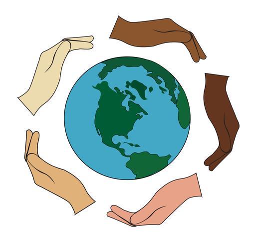 todas as mãos seguram o mundo vetor