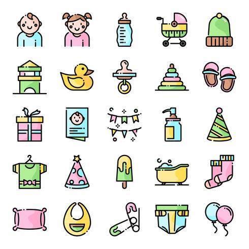 Pacote de ícones de chá de bebê vetor