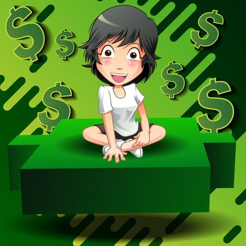 Investidor sente-se no castiçal verde. vetor