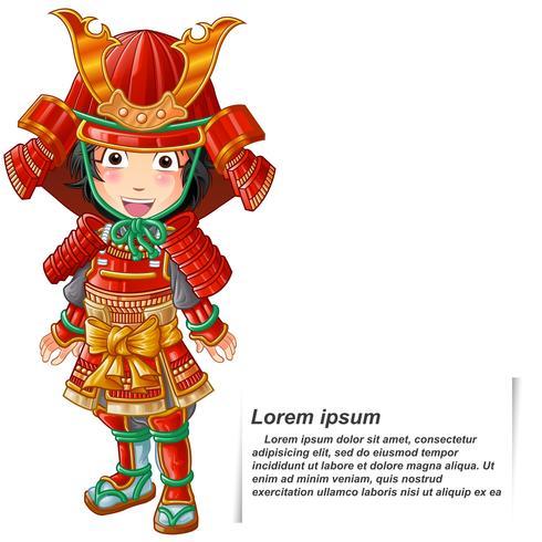 Pessoa isolada do vetor no terno da armadura do samurai.