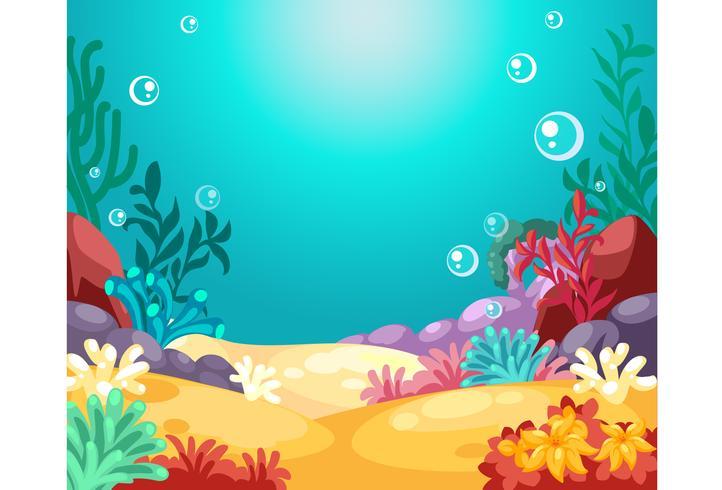 Ilustração em vetor fundo subaquática linda