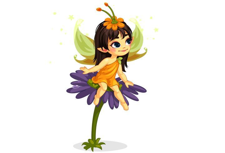 linda pequena fada sentada na flor vetor
