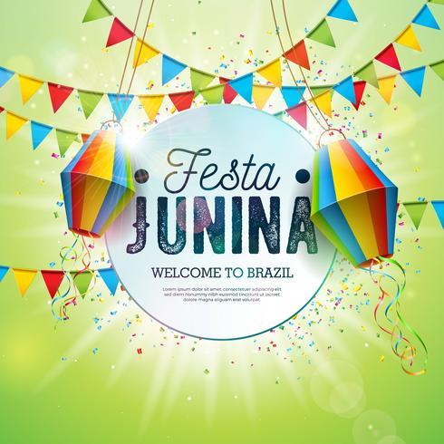 Ilustração de Festa Junina com bandeiras do partido e lanterna de papel no fundo verde brilhante. Vector Brazil June Festival Design