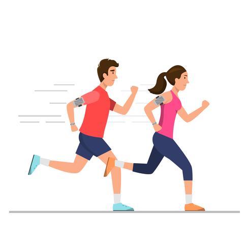 Homem feliz e mulher correndo no caminho vetor