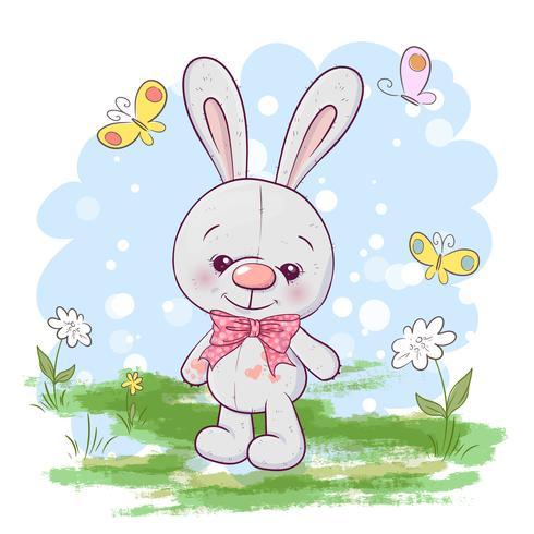 Flores e borboletas pequenas bonitos da lebre do cartão da ilustração. Imprimir em roupas e quarto de crianças vetor