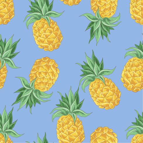 Padrão sem emenda de abacaxis amarelos sobre um fundo azul. Ilustração vetorial vetor