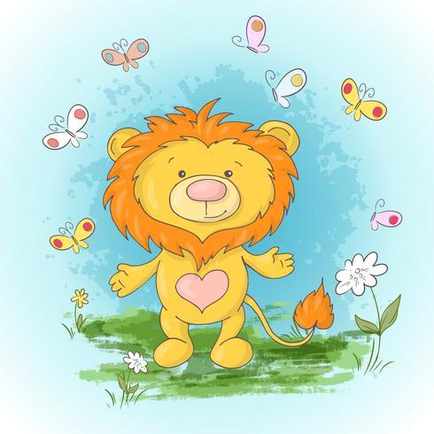 Flores e borboletas bonitos do filhote de leão do cartão. Estilo dos desenhos animados vetor
