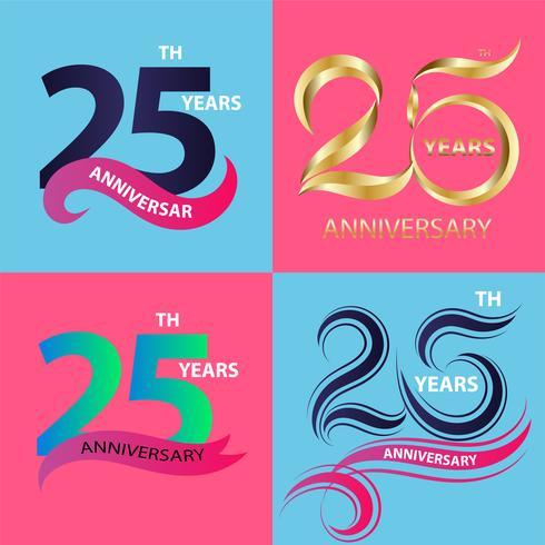 conjunto de sinal de 25º aniversário e símbolo de celebração do logotipo vetor