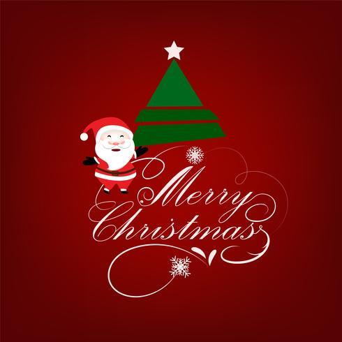 Fundo de saudação de Natal com Papai Noel e árvore de Natal vetor