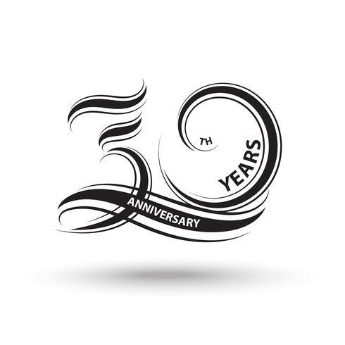 Sinal de 30º aniversário e logotipo para símbolo de celebração vetor