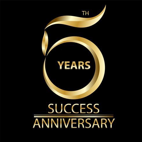 sinal de ouro 5º aniversário e logotipo para símbolo de celebração de ouro vetor
