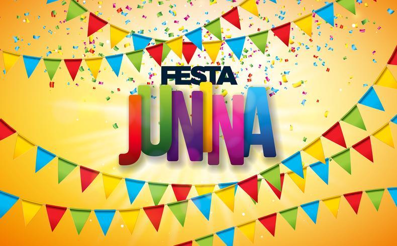 Ilustração de Festa Junina com bandeiras do partido, confetes coloridos e letra da tipografia no fundo amarelo. Vector Brazil June Festival Design