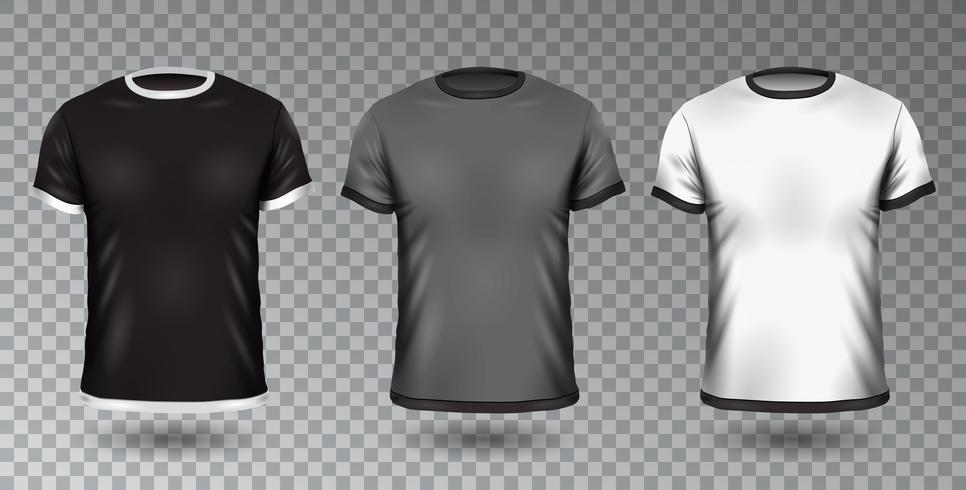Vector em branco preto, cinza e branco t-shirt conjunto de roupa de maquete.