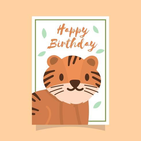 Cartão de cumprimentos do feliz aniversario do tigre vetor