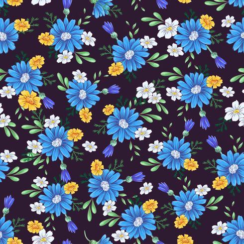 Padrão sem emenda de flores silvestres. Mão, desenho, vetorial, ilustração vetor
