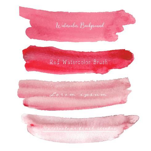 Grupo de fundo vermelho da aquarela, logotipo do curso da escova, ilustração do vetor. vetor