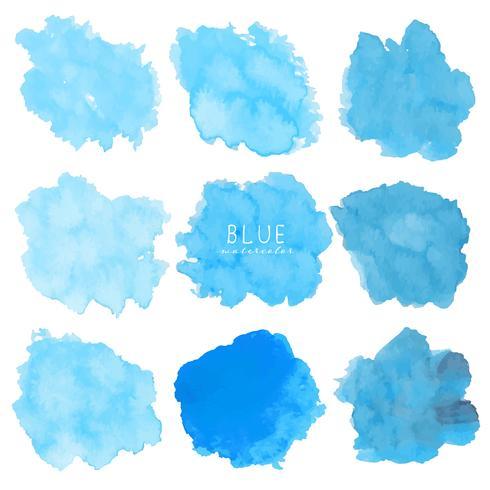 Grupo de aquarela azul no fundo branco, aquarela do curso da escova, ilustração do vetor. vetor
