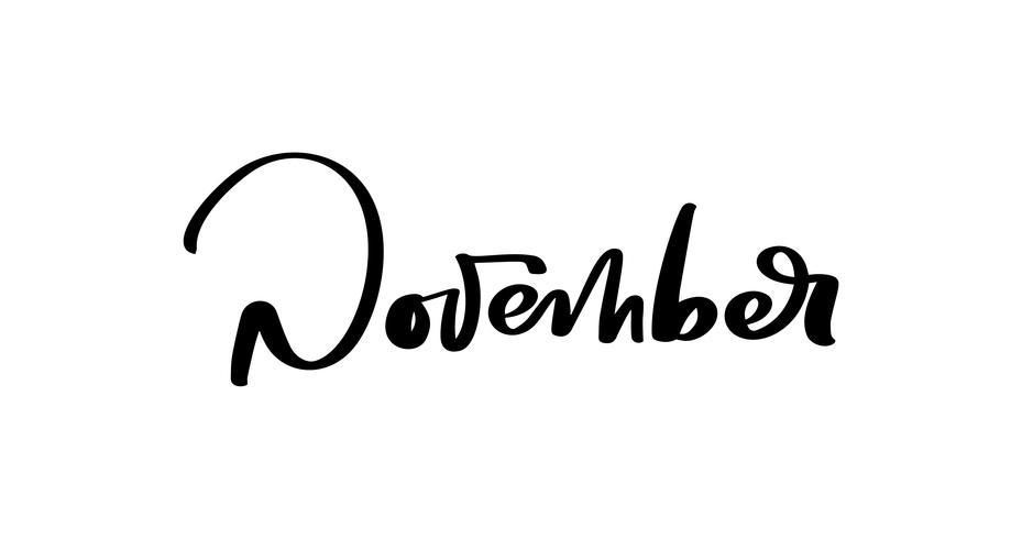 Letras de tinta de vetor de novembro. Preto da escrita na palavra branca. Estilo de caligrafia moderna. Caneta escova