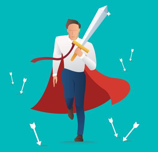 conflito empresário agressivo segurando a espada com a seta caindo, conceito de negócio de sucesso vetor