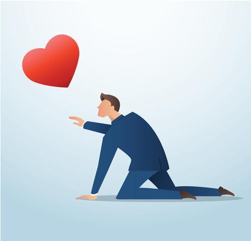 homem tentando pegar o ícone de coração vermelho, o homem tenta encontrar o amor vetor