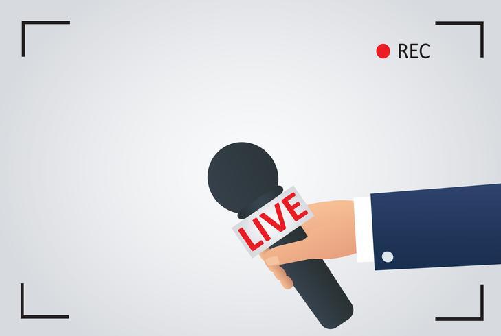 ilustração da notícia na tevê do foco e viva com registro do quadro da câmera. repórter com microfone, símbolo de jornalista vetor