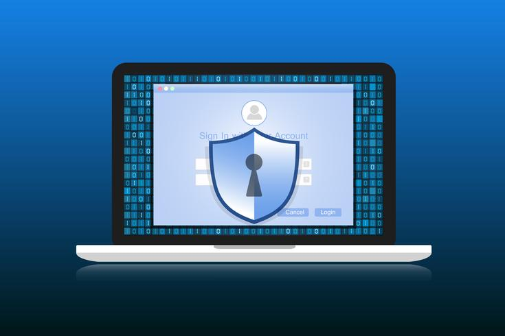 Conceito é segurança de dados. O escudo no Labtop protege os dados confidenciais. Segurança da Internet. Ilustração vetorial. vetor