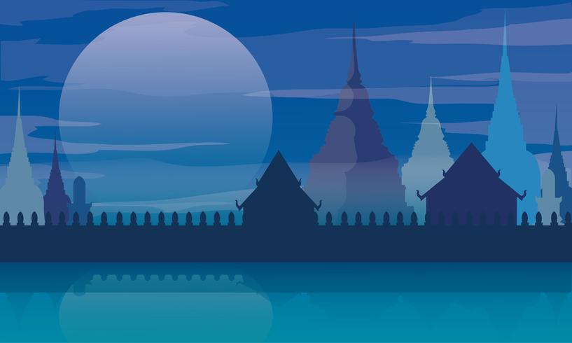 Tailândia templo paisagem arquitetura cartaz ilustração vetorial vetor