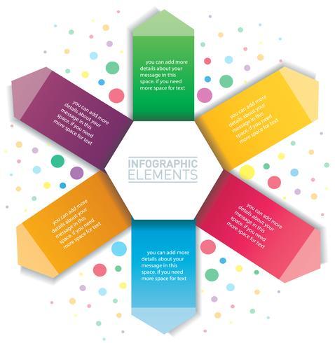 Infográfico de seta e hexágono. Modelo de vetor com 6 opções. Pode ser usado para web, diagrama, gráfico, apresentação, gráfico, relatório, passo a passo infográficos. Fundo abstrato
