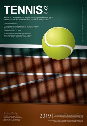 Ilustração de vetor de cartaz de campeonato de tênis