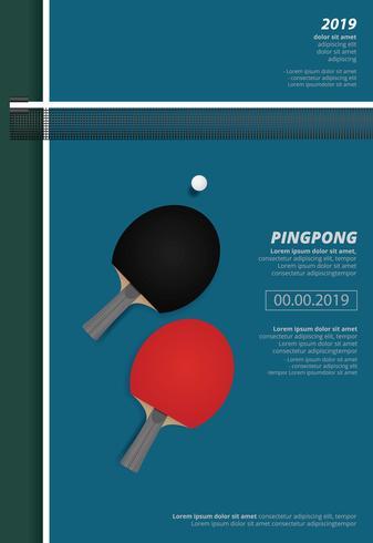 Ilustração em vetor de modelo de cartaz de pingue-pongue