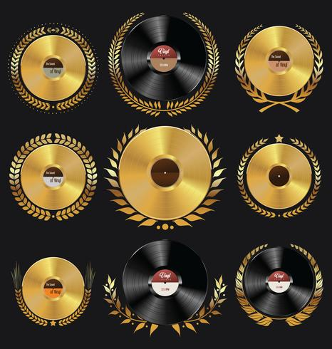 Retro emblemas de discos de vinil vetor
