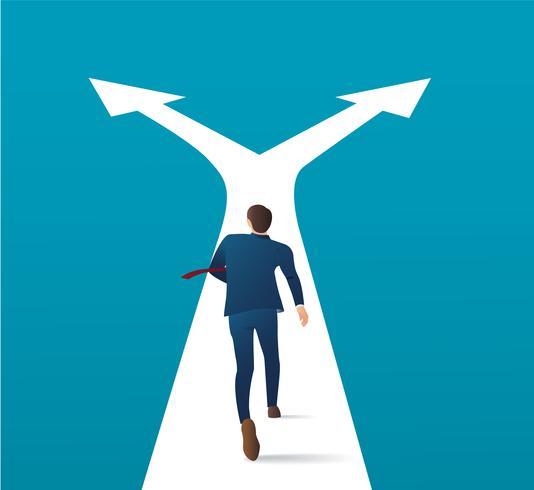 empresário correndo na encruzilhada e fazendo vetor de escolha. ilustração do conceito de negócio