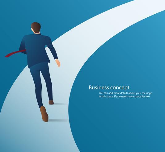 Homem de negócios que corre no vetor infographic da estrada. ilustração do conceito de negócio