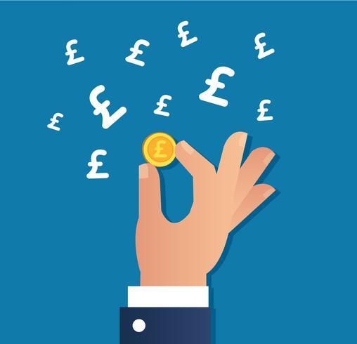 mão segurando a moeda de ouro e ícone de libra vetor, conceito do negócio vetor