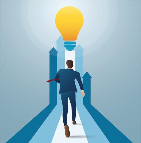 empresário correndo para lâmpada. conceito de arranque de negócios. ilustração em vetor conceito criativo