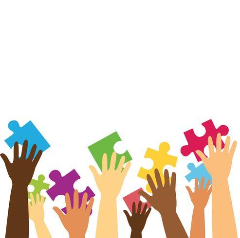 muitas mãos segurando o quebra-cabeça colorido peças ilustração vetorial de fundo vetor