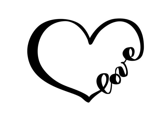 Mão desenhada coração com sinal de amor de texto. Ilustração do vetor de caligrafia romântica. Símbolo do ícone de Concepn para t-shirt, cartão postal, casamento de pôster. Elemento plano de design do dia dos namorados