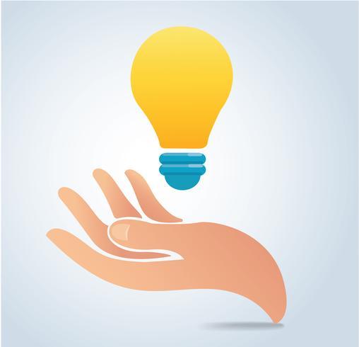 mão segurando o vetor de lâmpada
