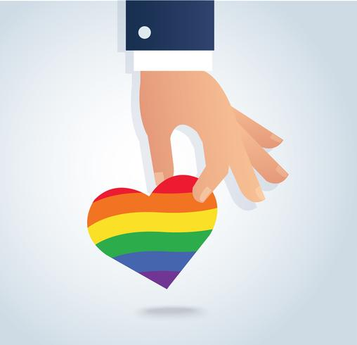 mão segurando o vetor de coração de bandeira de arco-íris. O amor é amor, o amor vence