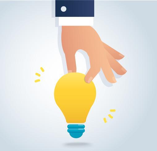 mão segurando um vetor de lâmpada