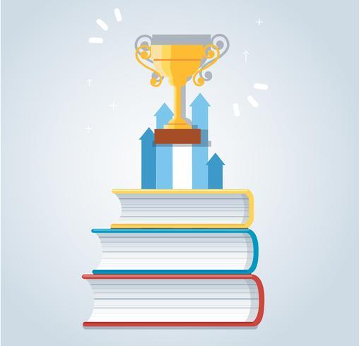 Troféu e ícone de seta na ilustração em vetor livros ícone design, conceitos de educação