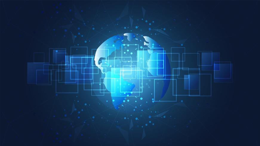 Conexão de rede global, mapa do mundo e fundo das placas de circuito digital. vetor