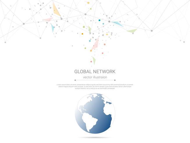 Conexão de rede global, baixo poli conectando pontos e linhas com fundo de mapa do mundo. vetor