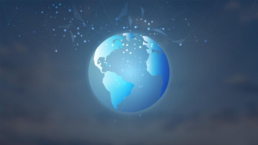 Conexão de rede global, Low poly com pontos de conexão e linhas de fundo. vetor