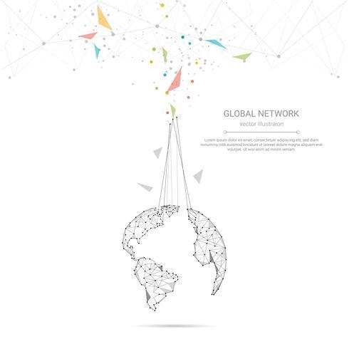 Conexão de rede global, baixo poli conectando pontos e linhas com fundo de mapa do mundo vetor