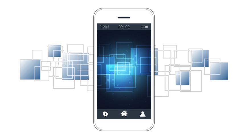 Tela esperta do telefone que mostra o fundo digital das placas de circuito. vetor