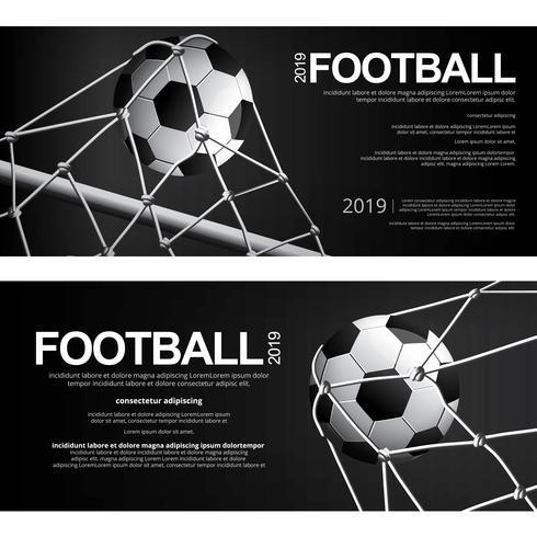 2 banner futebol futebol cartaz ilustração vetorial vetor