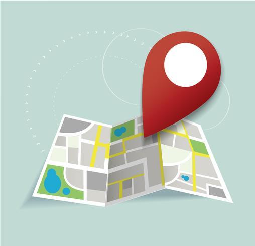 você está aqui, pin ícone de localização e mapa vetor, o conceito de viagens vetor
