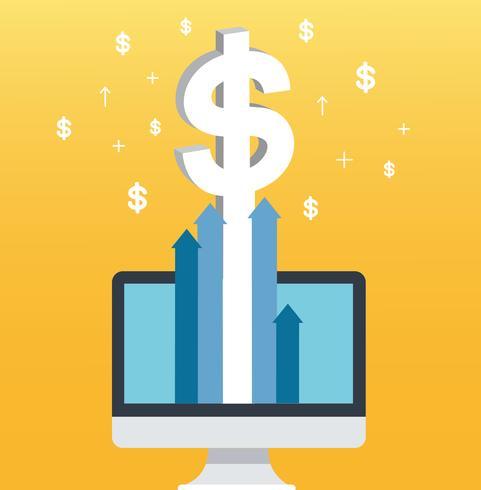 Dólar pop-up no computador de tela e fundo amarelo, ilustração de conceito de negócio bem sucedido vetor